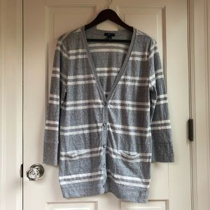 GAP Gray and White Button Cardigan